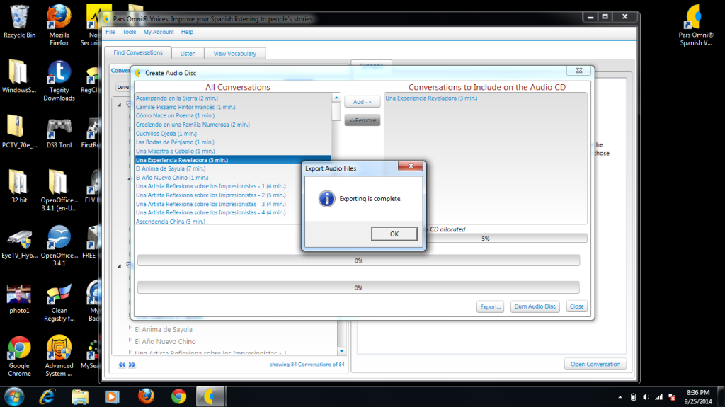 6. click ok when pop appears that says export complete. then click close in the bottom right of Create Audio Disc window
